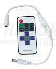 LED vezérlő; mini, távirányítóval 12-24 VDC, 12 A